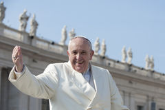 Papa accoglie fedele Immagini Stock