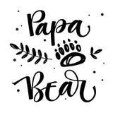 Papa Bear - caligrafia simples do vetor da família do urso com mão simples pé do urso e a decoração tirados dos leafes ilustração royalty free