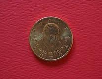 Papa Benedetto XVI una moneta da 50 centesimi Fotografie Stock Libere da Diritti