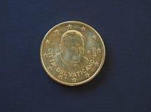 Papa Benedetto XVI una moneta da 50 centesimi Fotografia Stock