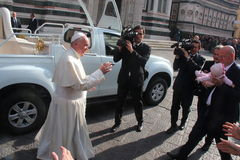 Papa Bergoglio Francesco a Firenze Fotografia Stock Libera da Diritti