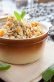 Papa de aveia de nutrição da cevada com vegetais de raiz Imagens de Stock