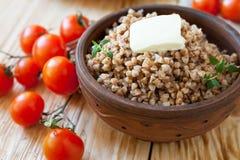 Papa de aveia nutritivo feito do trigo mourisco Fotografia de Stock