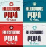 Papa de Felicidades, AMO de te - papa de félicitation, je t'aime texte espagnol Photographie stock libre de droits