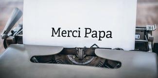 Papa de Merci écrit sur le papier images libres de droits