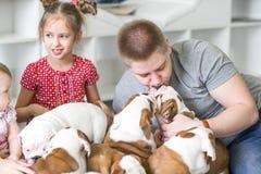 Papa de soin avec une fille et un bouledogue de l'anglais de chiots Image stock