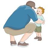 Papa die aan Kind spreken Stock Afbeelding