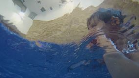 Papa en weinig zoon die in de binnenpool zwemmen stock videobeelden