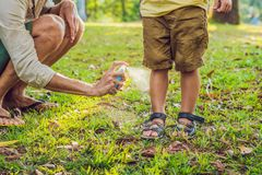 Papa en zoons de nevel van de gebruiksmug Bespuitend insektenwerend middel op huid openlucht royalty-vrije stock afbeeldingen