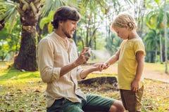 Papa en zoons de nevel van de gebruiksmug Bespuitend insektenwerend middel op huid openlucht stock foto