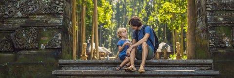 Papa en zoonsreizigers die Ubud-bos in Aapbos ontdekken, Bali Indonesië Het reizen met de BANNER van het kinderenconcept stock afbeeldingen