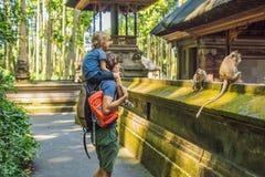 Papa en zoonsreizigers die Ubud-bos in Aapbos ontdekken, Bali Indonesië Het reizen met kinderenconcept royalty-vrije stock fotografie