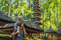 Papa en zoonsreizigers die Ubud-bos in Aapbos ontdekken, Bali Indonesië Het reizen met kinderenconcept royalty-vrije stock foto's