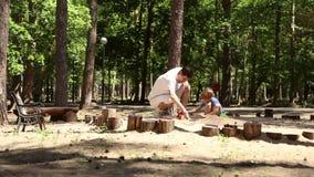 Papa en zoonsspel in de zandbak stock videobeelden