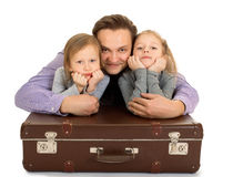 Papa et deux filles image stock