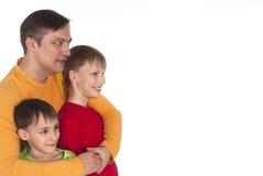 Papa et deux fils Photos stock