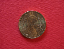 Papa Francis I una moneta da 50 centesimi Fotografia Stock