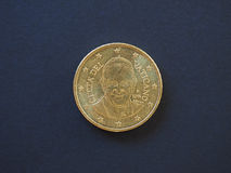 Papa Francis I una moneta da 50 centesimi Fotografie Stock Libere da Diritti