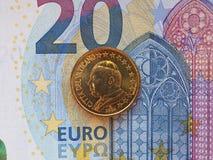 Papa Giovanni Paolo II una moneta da 50 centesimi Fotografie Stock Libere da Diritti