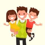 Papa heureux tenant son fils et fille Illustration de vecteur illustration stock
