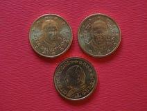 Papa John Paul II, Benedict XVI e Francis mim 50 moedas dos centavos Imagens de Stock Royalty Free