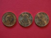 Papa Juan Pablo II, Benedicto XVI y Francisco I 50 monedas de los centavos Fotografía de archivo