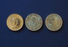 Papa Juan Pablo II, Benedicto XVI y Francisco I 50 monedas de los centavos Foto de archivo
