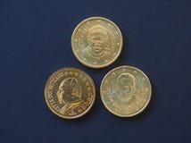 Papa Juan Pablo II, Benedicto XVI y Francisco I 50 monedas de los centavos Imágenes de archivo libres de regalías