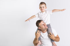 Papa met zoon royalty-vrije stock afbeelding