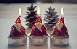 Papa Noel Christmas stearinljus Arkivbild