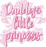 Papa s weinig prinses Hand getrokken creatieve kalligrafie vector illustratie