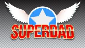 Papa superbe, texte brillant rouge sur le fond transparent horizontal Typographie de superhéros avec les ailes et l'étoile blanch illustration de vecteur