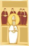 Papa y cardenales stock de ilustración