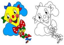 Papagaio amarelo de sorriso com as fitas coloridas como a coloração para crianças Fotos de Stock Royalty Free