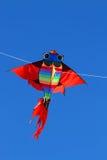 Papagaio colorido que voa altamente nos azul-céu Imagem de Stock Royalty Free