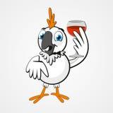Papagaio divertido dos desenhos animados engraçados brancos com um vidro do vinho isolado no fundo Imagens de Stock