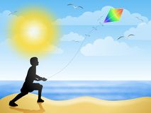 Papagaio do vôo no verão da praia ilustração royalty free