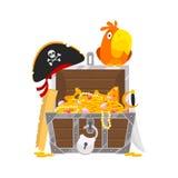 Papagaio e caixa do ouro Imagem de Stock