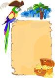 Papagaio e rolo do pirata Fotografia de Stock