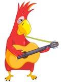 Papagaio engraçado. Guitarrista Imagens de Stock