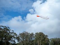 Papagaio que voa altamente no céu com nuvens divisoras fotos de stock royalty free