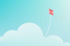 Papagaio que voa sobre a nuvem Imagens de Stock