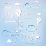 Papagaios e nuvens Foto de Stock Royalty Free