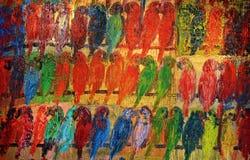 Papagaios pintados Fotografia de Stock