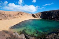 Papagayo海滩在兰萨罗特岛 库存照片