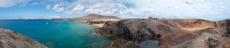 Papagayo海滩在兰萨罗特岛 图库摄影