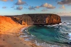 Papagayo海滩,坎那利岛,西班牙 库存图片