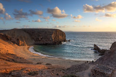 Papagayo Beach, Lanzarote, Spain. Landscape with the famous Papagayo Beach on the Lanzarote Island in the Canary Islands Ahipelago, Spain at sunset time Royalty Free Stock Photography