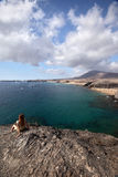 Papagayo beach with transperent water and beautiful view far away Stock Photos