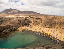 Papagayo strand, Lanzarote, kanariefågelöar Arkivfoton